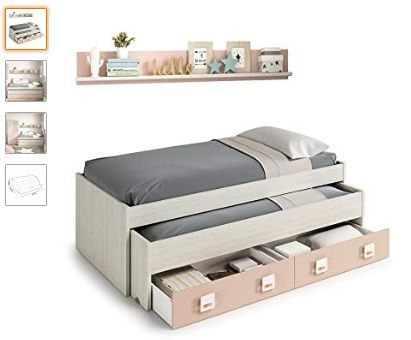 Tipos de cama nido 1 2 y 3 plazas con escritorio for Precio cama nido doble con cajones