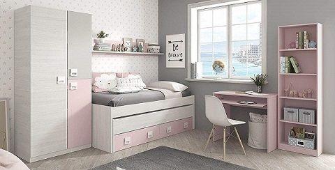 cama nido + armario + estantería + balda + escritorio